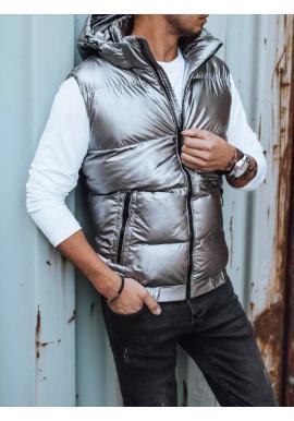 Prešívaná pánska vesta striebornej farby s odopínacou kapucňou
