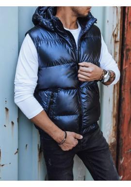 Tmavomodrá prešívaná vesta s odopínacou kapucňou pre pánov