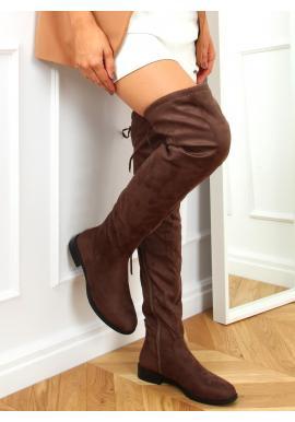 Hnedé semišové čižmy nad kolená pre dámy