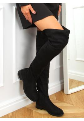 Dámske semišové čižmy nad kolená v čiernej farbe
