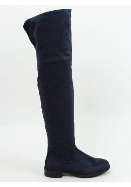 Dámske semišové čižmy nad kolená v tmavomodrej farbe