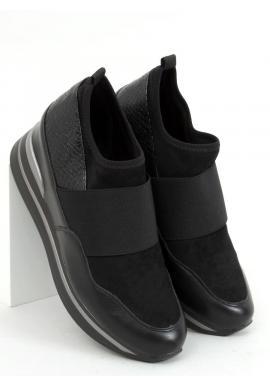 Športové dámske topánky čiernej farby na klinovom podpätku