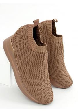 Hnedé nazúvacie topánky na klinovom podpätku pre dámy