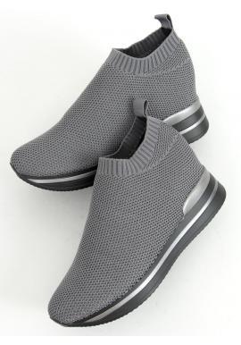 Dámske nazúvacie topánky na klinovom podpätku v sivej farbe