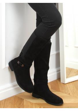 Čierne klasické čižmy s elastickou vložkou pre dámy