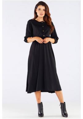 Midi dámske šaty čiernej farby so zlatými gombíkmi