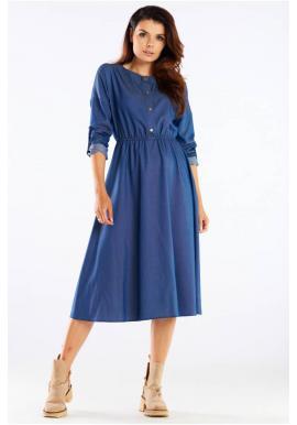 Modré midi šaty so zlatými gombíkmi pre dámy
