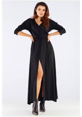 Čierne dlhé šaty na jeseň pre dámy