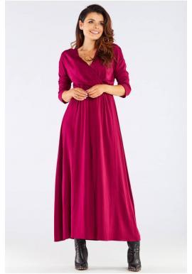Dámske dlhé šaty na jeseň v bordovej farbe