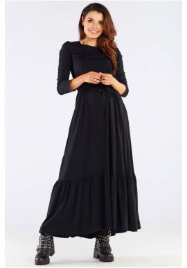 Čierne dlhé šaty s volánom a šnurovaním pre dámy
