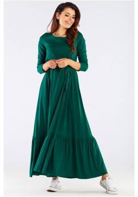 Dlhé dámske šaty zelenej farby s volánom a šnurovaním