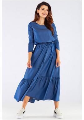 Dámske dlhé šaty s volánom a šnurovaním v modrej farbe
