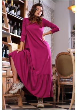 Bordové dlhé šaty s volánom a šnurovaním pre dámy
