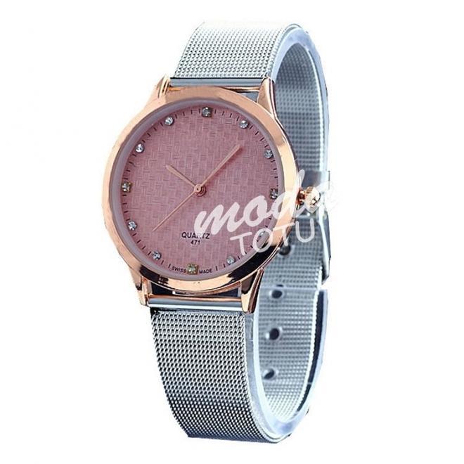 Pánske hodinky GENEVA striebornej farby s tyrkysovým ciferníkom
