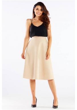 Midi dámska sukňa béžovej farby s rozšíreným strihom