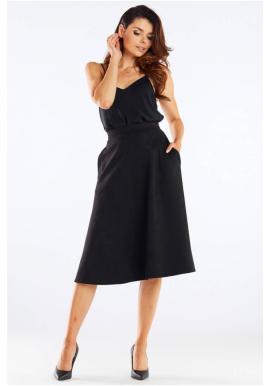 Čierna midi sukňa s rozšíreným strihom pre dámy