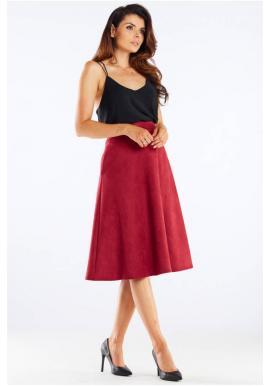 Dámska midi sukňa s rozšíreným strihom v bordovej farbe