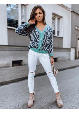 Krátky dámsky sveter tmavomodrej farby so vzorom