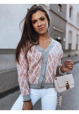 Dámsky krátky sveter so vzorom v ružovej farbe