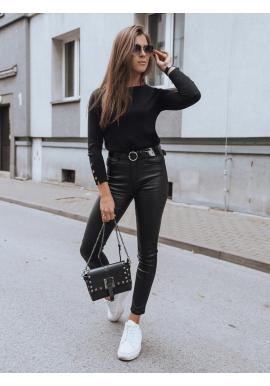 Dámske priliehavé voskované nohavice v čiernej farbe