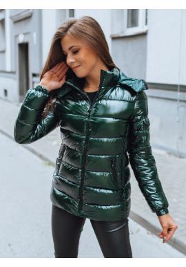Zelená prešívaná bunda s odopínacou kapucňou pre dámy