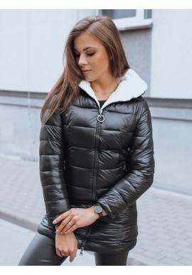 Prešívaná dámska bunda čiernej farby s neodopínacou kapucňou