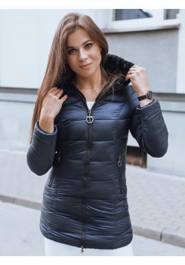 Tmavomodrá prešívaná bunda s neodopínacou kapucňou pre dámy