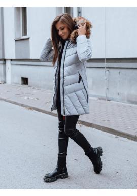Dámska prešívaná bunda s kapucňou v sivej farbe