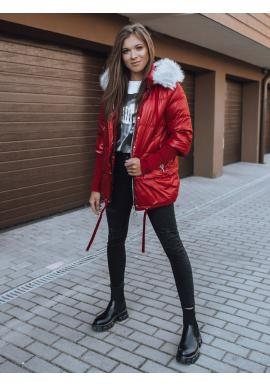 Červená prešívaná bunda na zimu pre dámy