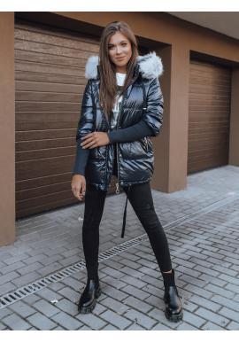 Prešívaná dámska bunda tmavomodrej farby na zimu