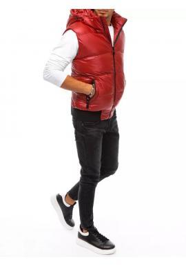 Prešívaná pánska vesta červenej farby s odopínacou kapucňou