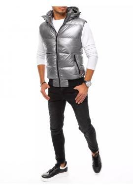 Strieborná prešívaná vesta s odopínacou kapucňou pre pánov