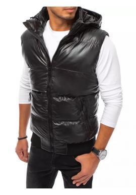Pánska prešívaná vesta s odopínacou kapucňou v čiernej farbe