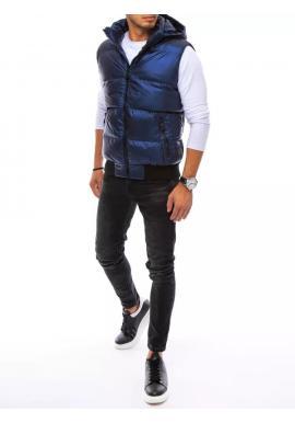 Prešívaná pánska vesta tmavomodrej farby s odopínacou kapucňou