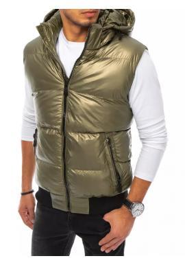 Zlatá prešívaná vesta s odopínacou kapucňou pre pánov