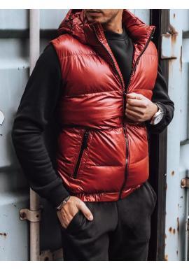Pánske prešívané vesty s odopínacou kapucňou v červenej farbe