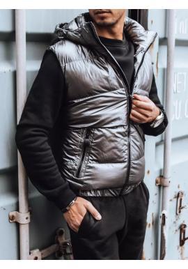 Prešívaná pánska vesta tmavosivej farby s odopínacou kapucňou
