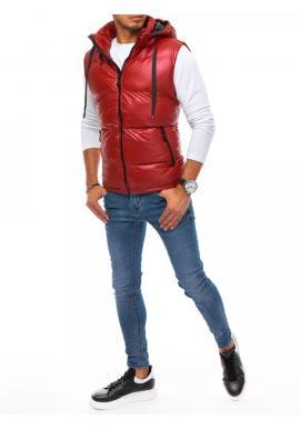 Červená prešívaná vesta s odopínacou kapucňou pre pánov