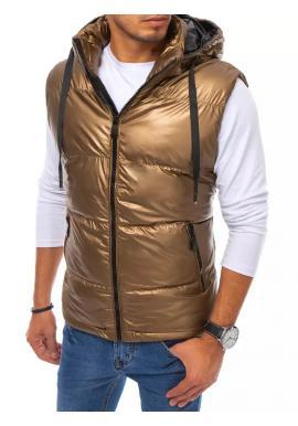 Prešívaná pánska vesta hnedej farby s odopínacou kapucňou