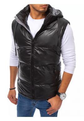 Čierna prešívaná vesta s odopínacou kapucňou pre pánov