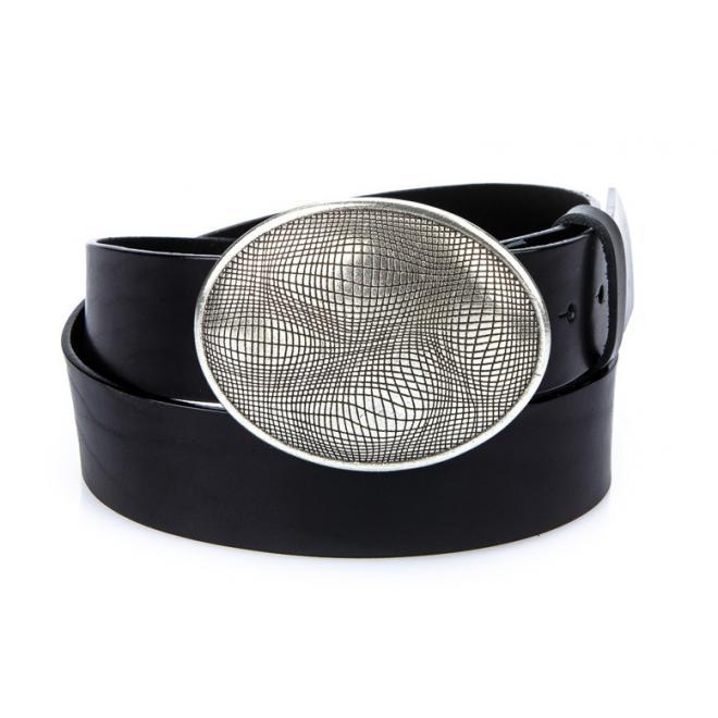 Pánsky kožený opasok s kovovou prackou čiernej farby