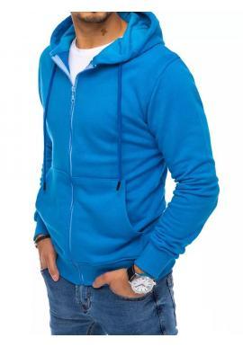 Pánska zapínaná mikina s kapucňou v modrej farbe