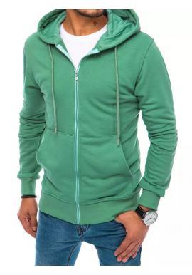 Zelená zapínaná mikina s kapucňou pre pánov