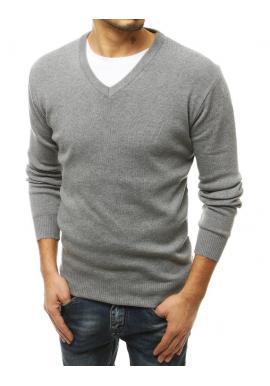 Klasický pánsky sveter svetlosivej farby s véčkovým výstrihom