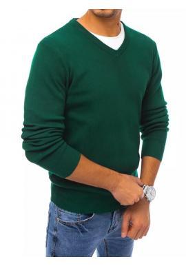 Pánsky klasický sveter s véčkovým výstrihom v zelenej farbe