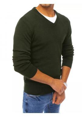 Tmavozelený klasický sveter s véčkovým výstrihom pre pánov