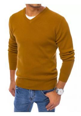 Módny pánsky sveter ťavej farby s véčkovým výstrihom