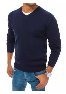 Pánsky módny sveter s véčkovým výstrihom v tmavomodrej farbe