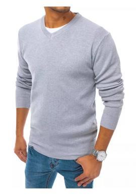 Svetlosivý módny sveter s véčkovým výstrihom pre pánov
