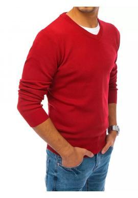 Módny pánsky sveter červenej farby s véčkovým výstrihom